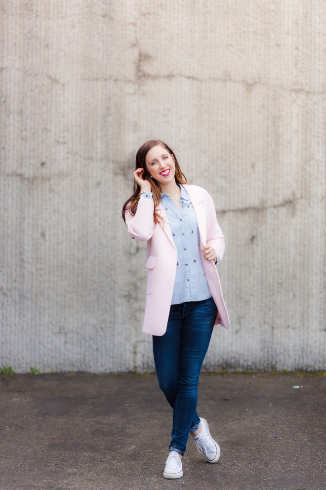 Pink Coat and Chambray Shirt