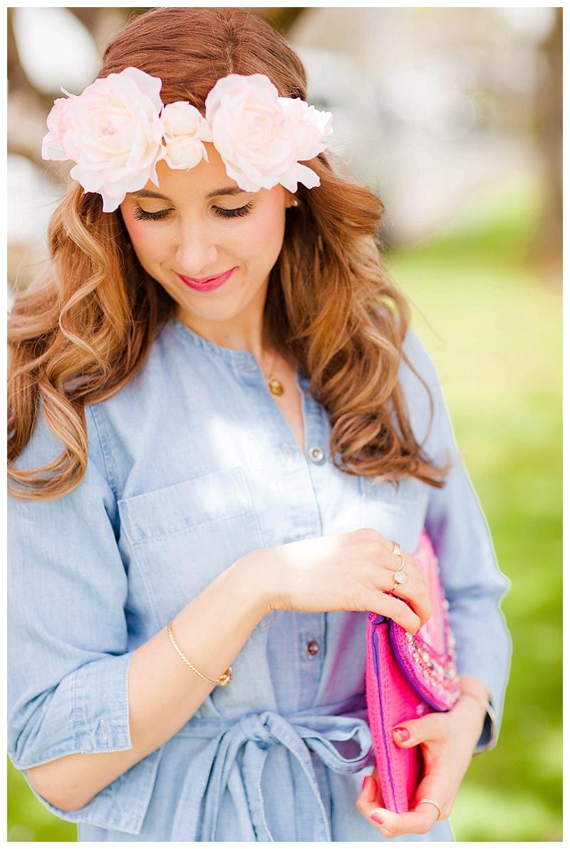Denim Dress and Flower Crown