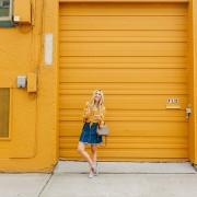 blush and camo, 70s trend, denim skirt
