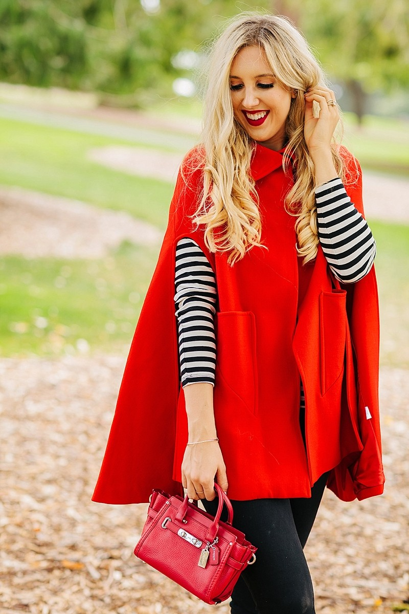 blush and camo, how to style, style tips, cape, cape jacket, fall style, chic fall style, stripes, chanel