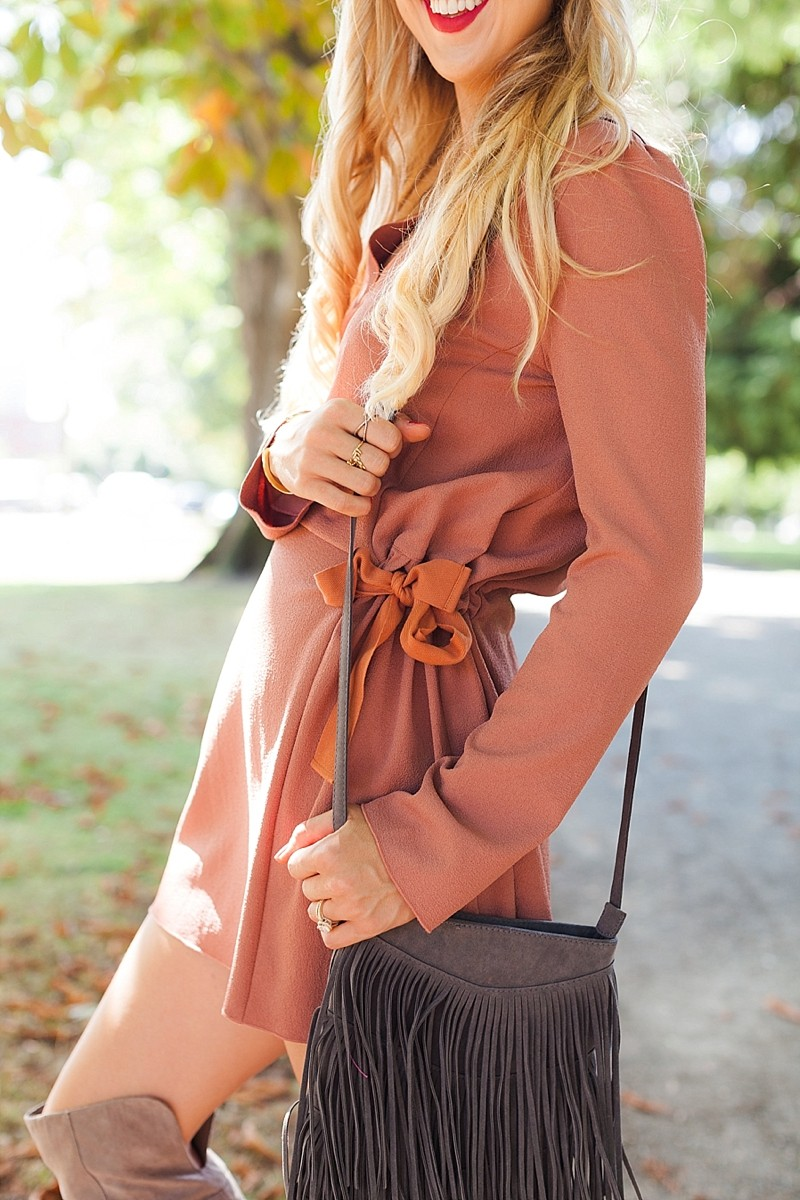blush and camo, how to style, over the knee boots, see by chloe, fringe, 70s style