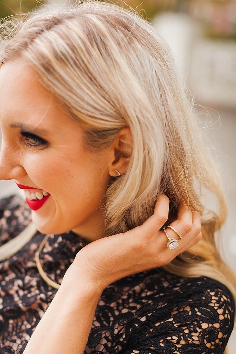 blush and camo, Blue Nile Diamond, Jewelry, black lace dress, how to style jewelry, fall fashion, style blog, fashion blog, high quality jewelry