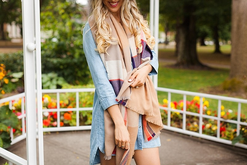 blush and camo, style blog, fashion blog, fall fashion, fall style, denim dress, plaid, floppy hat, casual style. weekend style, suede boots