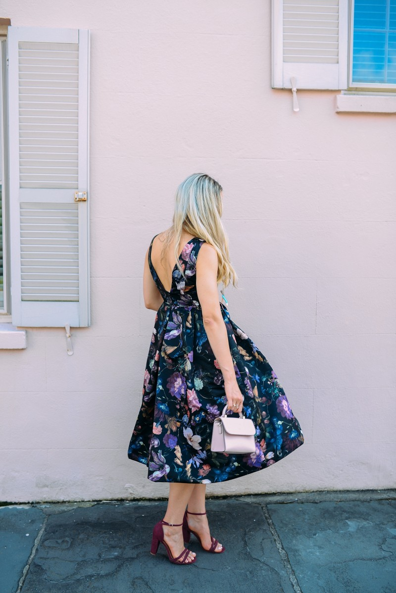 blush and camo, how to style, style tips, floral print, floral print dress, block heels