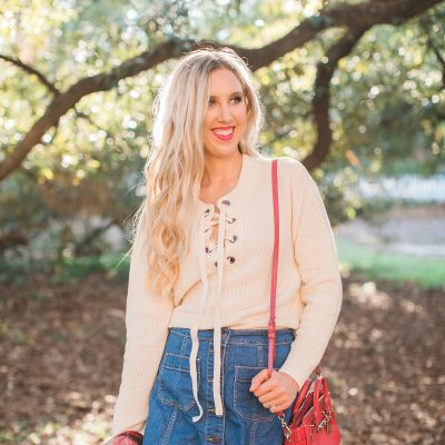 blush and camo, lace up sweater, shop maude, denim skirt, fall fashion, fall style