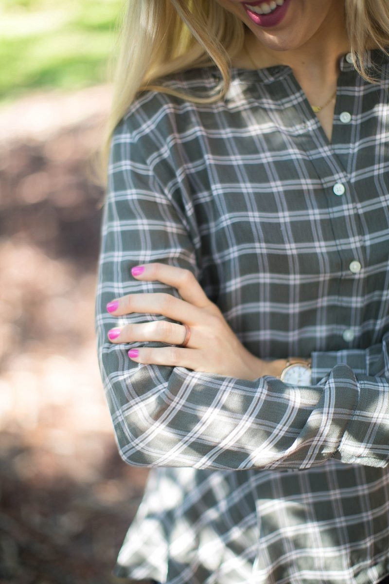 enso rings, blush and camo, fashion blog, active lifestyle, plaid, fall fashion