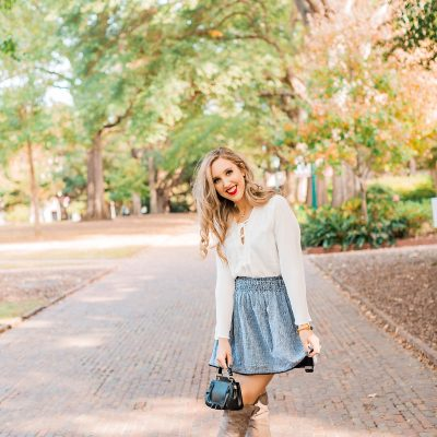blush and camo, how to wear trends, style tips, fashion blog, over the knee boots, francesca's, shop maude, old navy
