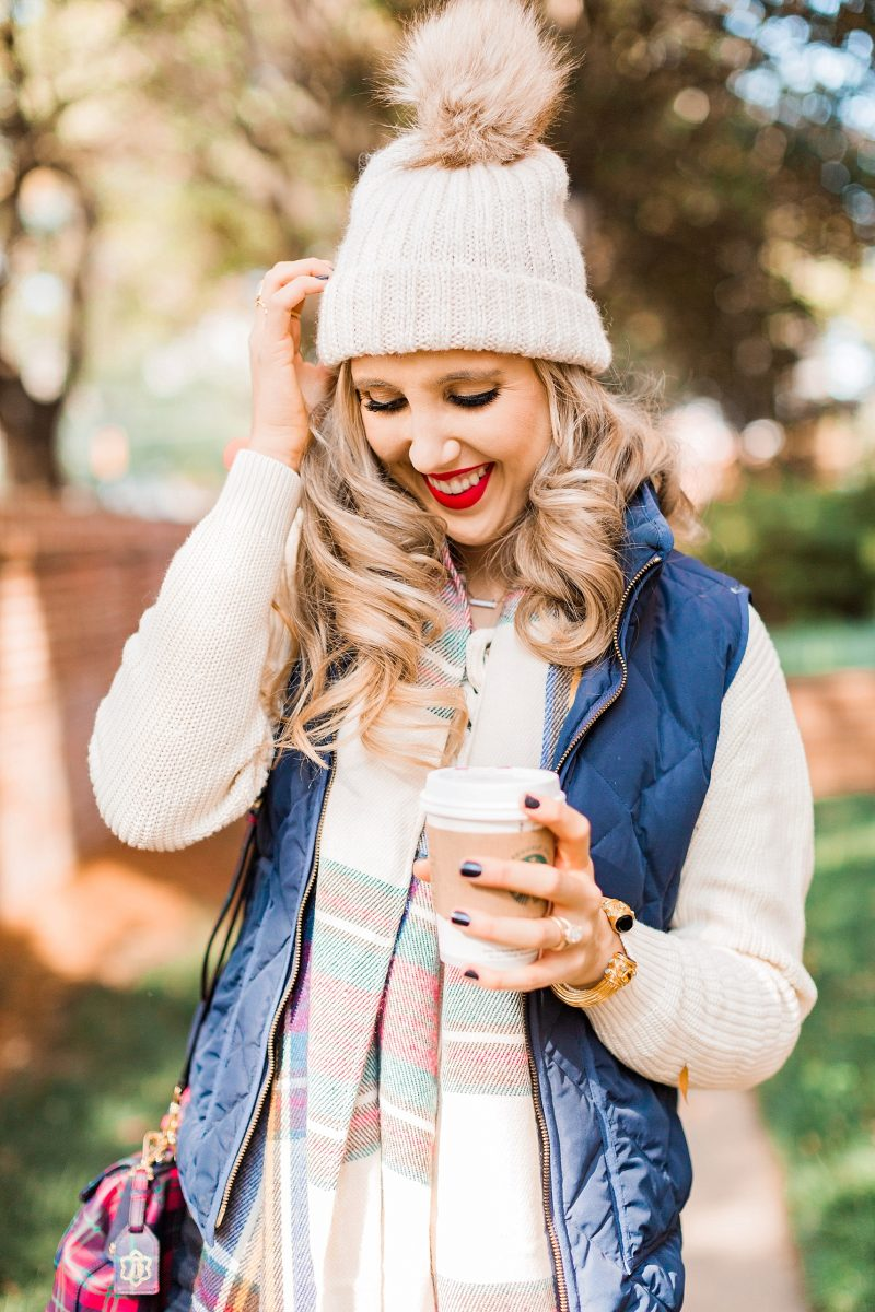 blush and camo, holiday, holiday style, hunter boots, plaid, how to style, style tips, j. crew vest