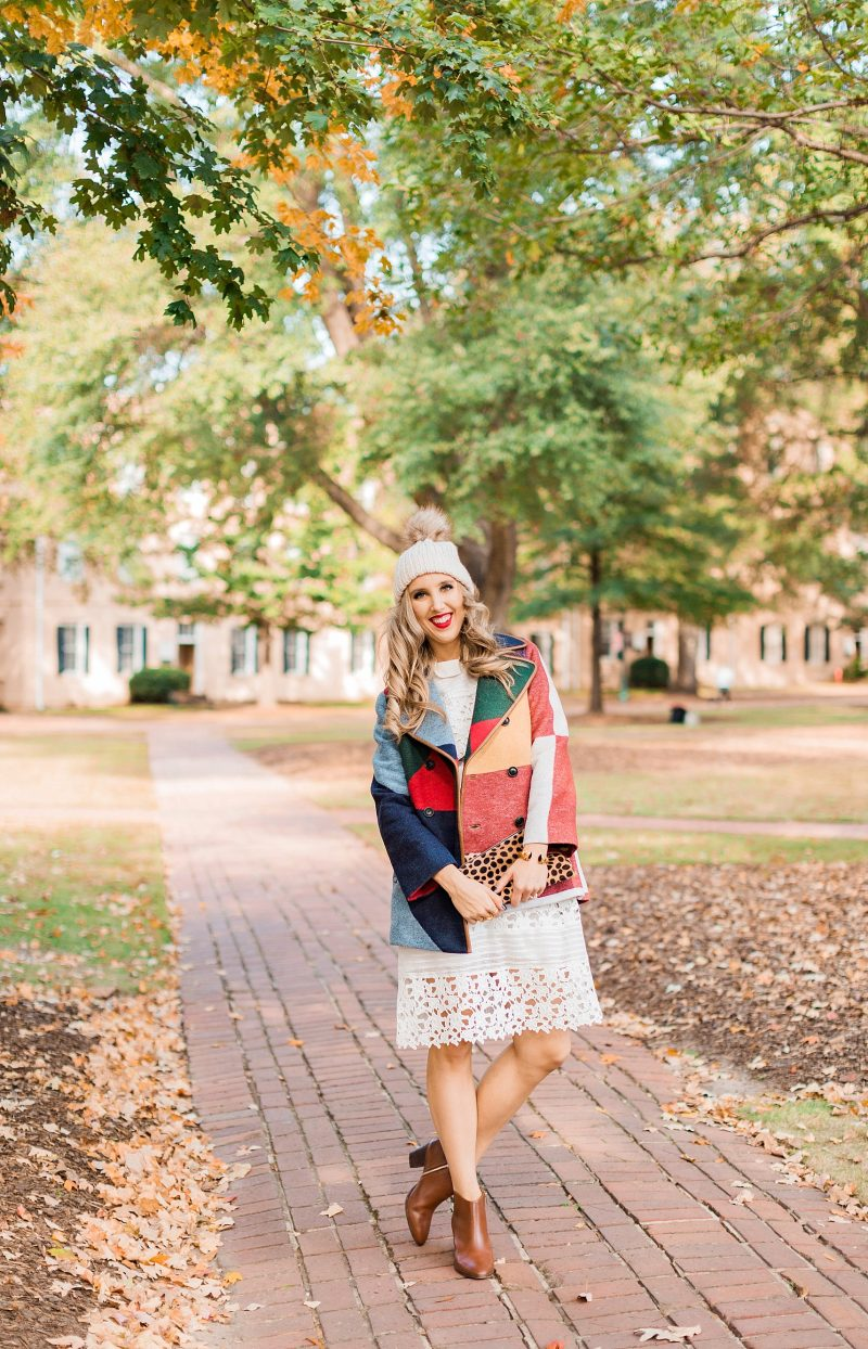 blush and camo, style blog, fall fashion, tory burch coat, fashion blog, white dress, style tips