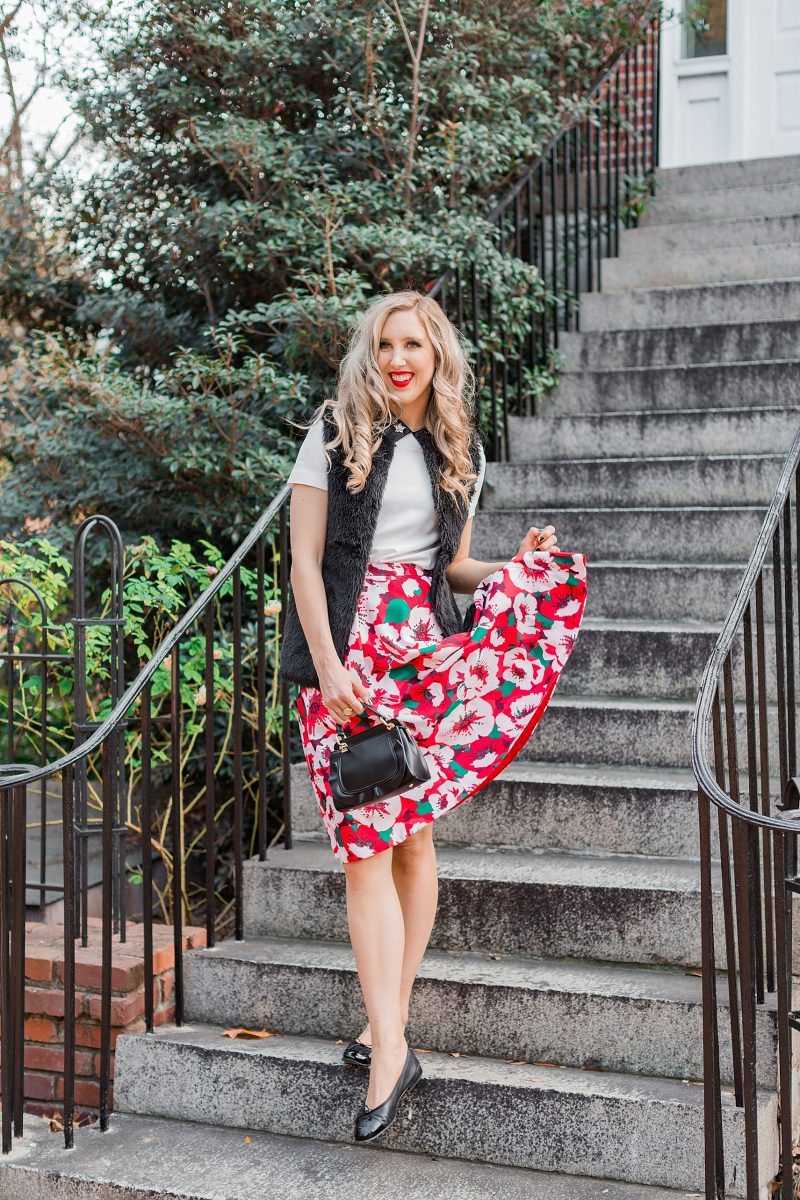 blush and camo, draper james, holiday style, southern belle, francescas handbag, chanel flats
