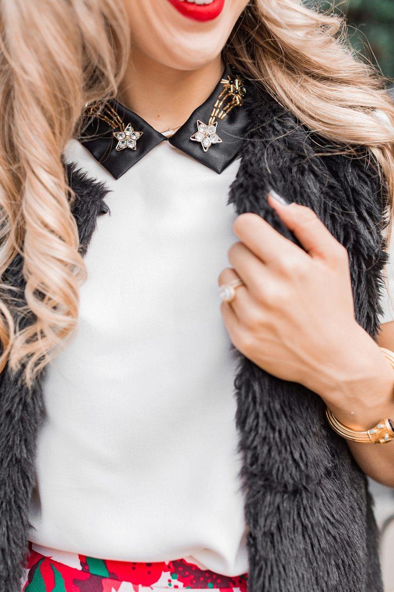 blush and camo, draper james, holiday style, southern belle, francescas handbag, chanel flats