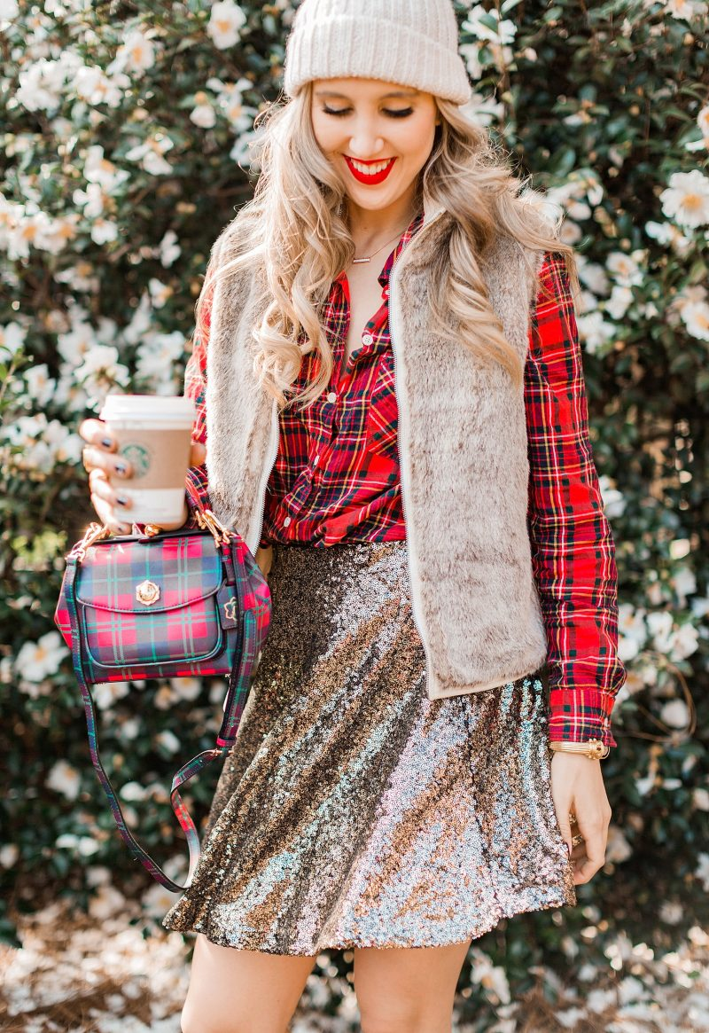 blush and camo, style blog, holiday fashion, style blog, style tips, plaid button down, sequined skirt, plaid handbag, draper james