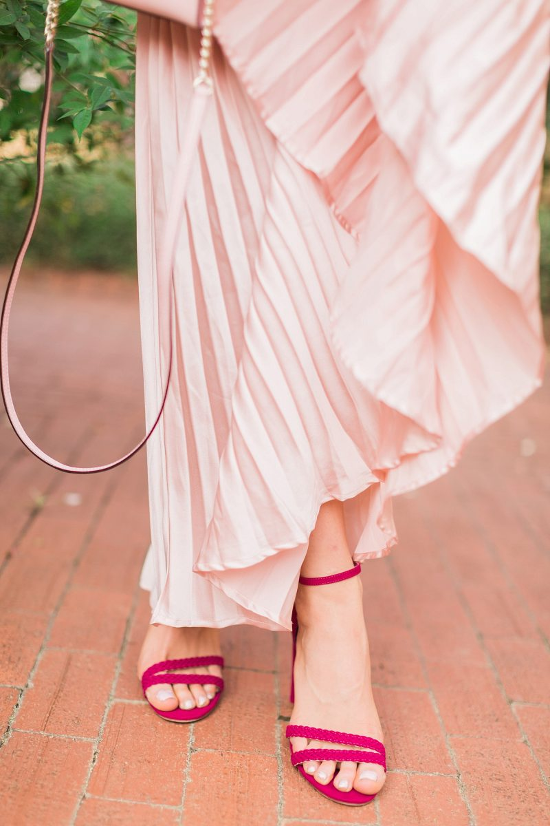 blush and camo, pink, holiday style, pleated skirt, kate spade handbag, winter style, style blog, style tips