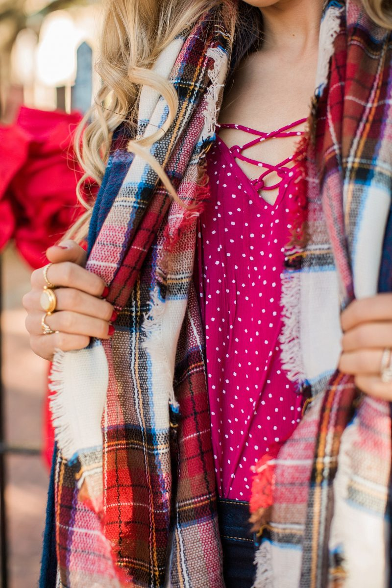 blush and camo, wardrobe, how to build your wardrobe, style tips, style blog, plaid coat, over the knee boots, red handbag