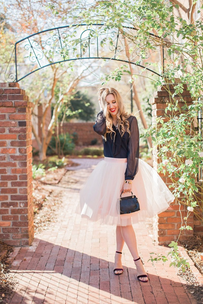 blush and camo, tulle skirt, space 46 boutique, holiday style, valentino dress, julie vos jewelry, fashion blog, style blog, block heels, velvet heels