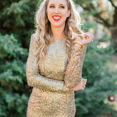 blush and camo, christmas dress, sequined dress, gold dress, velvet heels, block heels, holiday style
