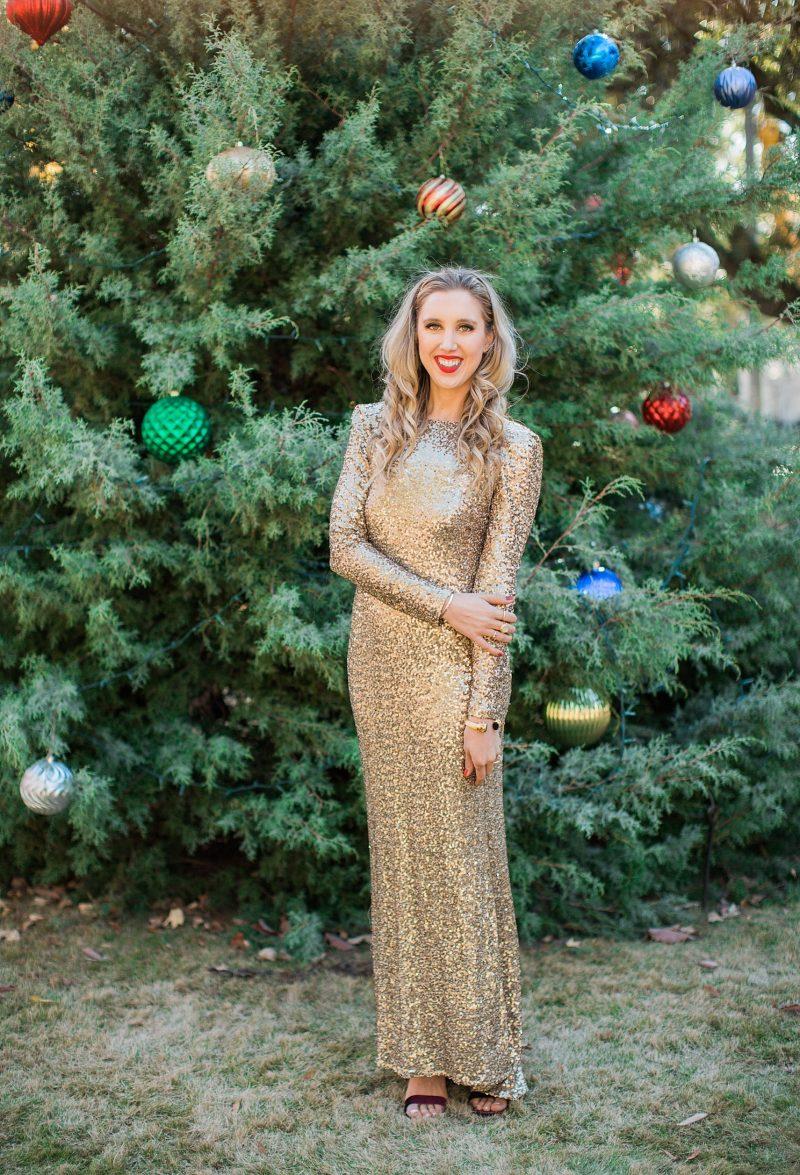 blush and camo, christmas dress, sequined dress, gold dress, velvet heels, block heels, holiday style
