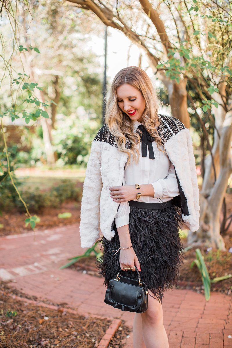 blush and camo, NYE, NYE outfit, feathers