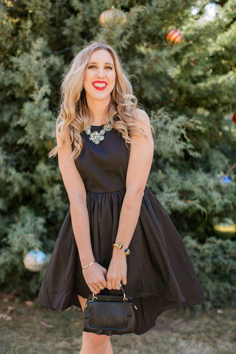 blush and camo, francesca's, holiday style, fashion blog, black dress, LBD, block heels