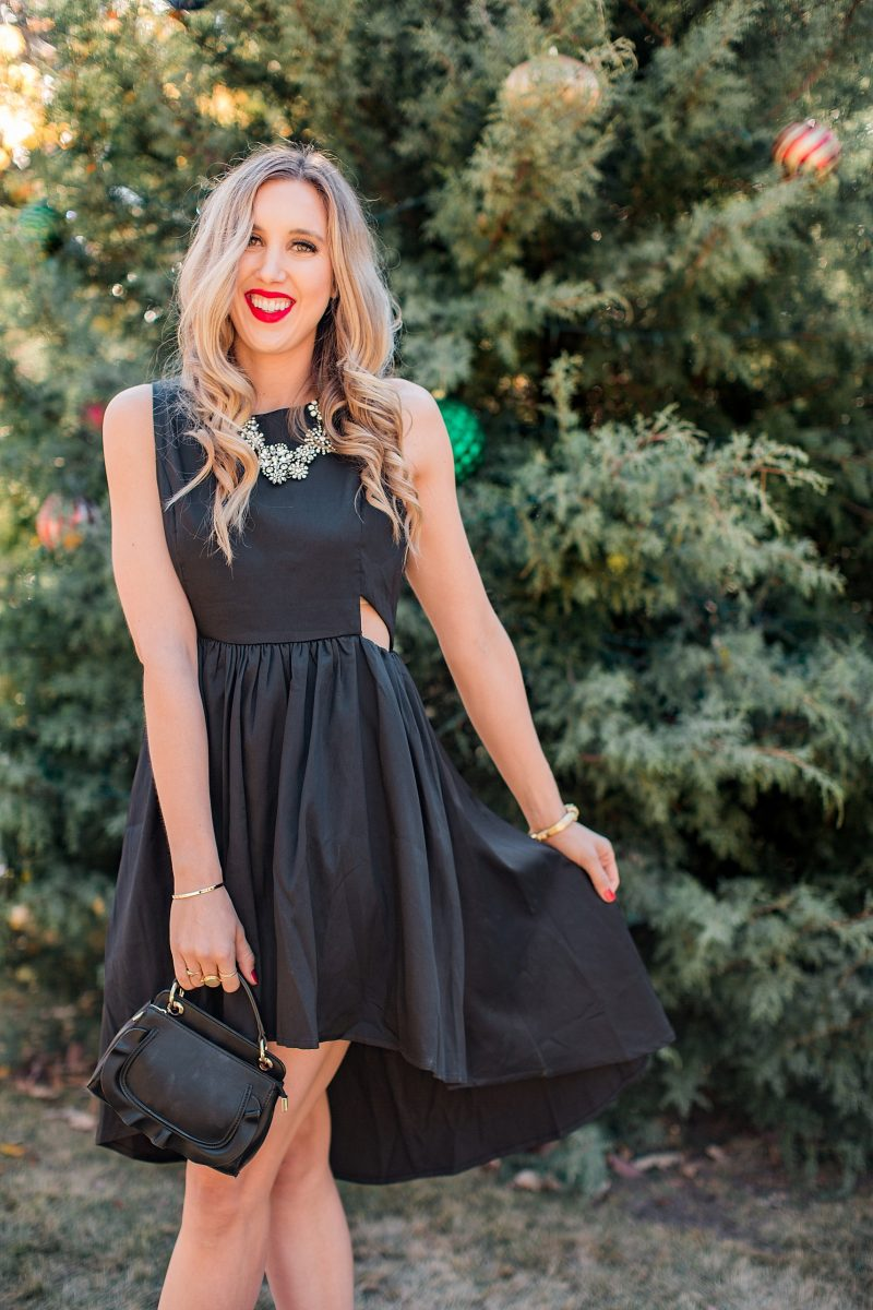 blush and camo, francesca's, holiday style, fashion blog, black dress, LBD, block heels