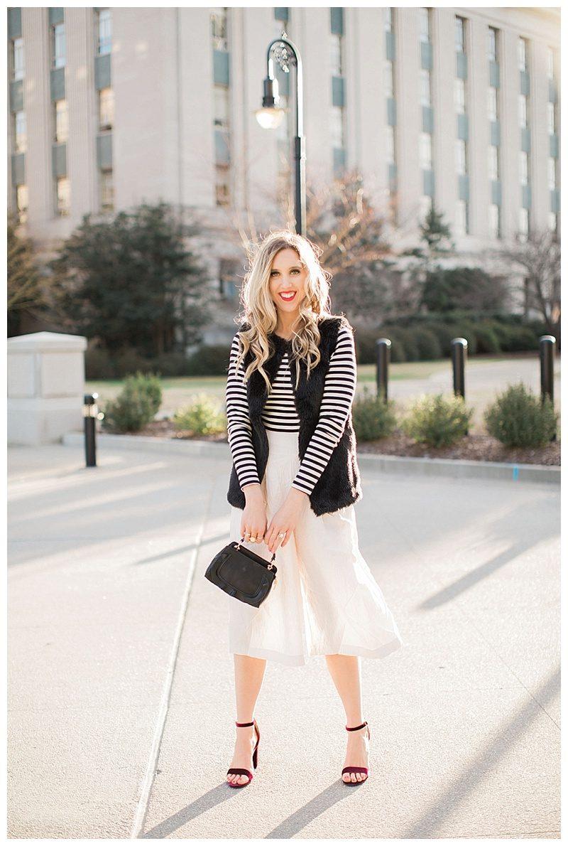 blush and camo, fashion magazine, black and white stripes, velvet block heels, fashion blog, winter style, chic style, faux fur vest