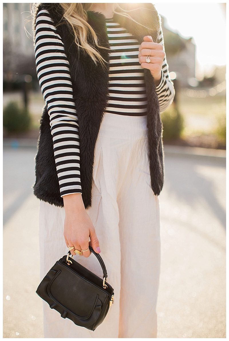 blush and camo, fashion magazine, black and white stripes, velvet block heels, fashion blog, winter style, chic style, faux fur vest