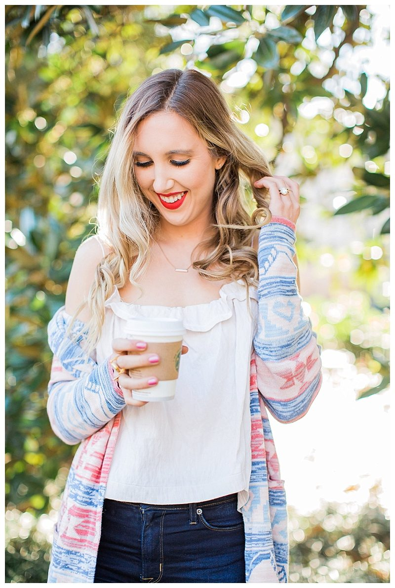 blush and camo, style tips, cardigan, nordstrom, husdson jeans, valentino rockstud caged flatss