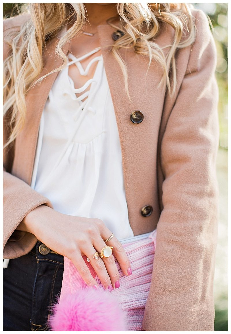 blush and camo, feminine style, pink style, pink beanie, winter essentials, winter classics