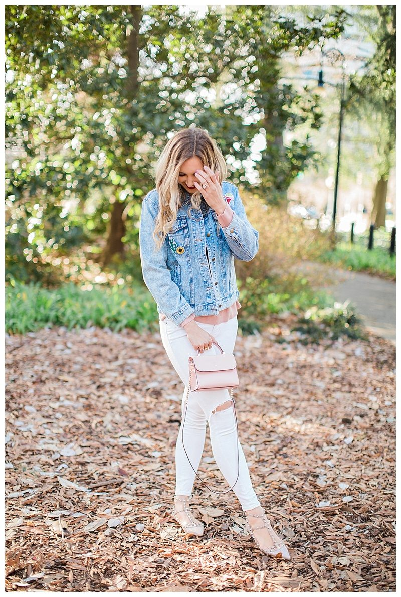 blush and camo, style blog, jean jacket, winter style, white jeans, oxfords