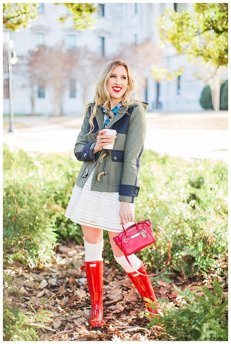 blush and camo, winter layers, style tips, hunter boots, coach bag, j. crew coat