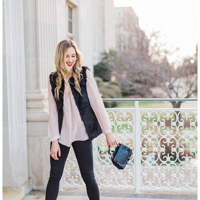 blush and camo, style tips, faux fur, valentino rockstud flats, blush, style blog, black handbag