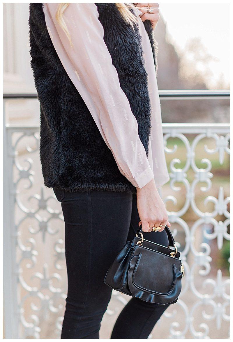 blush and camo, style tips, faux fur, valentino rockstud flats, blush, style blog, black handbag