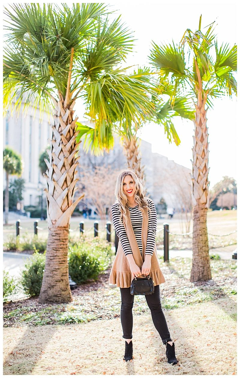 blush and camo, body acceptance, style blog, black and white, stripes, winter style, anthropologie