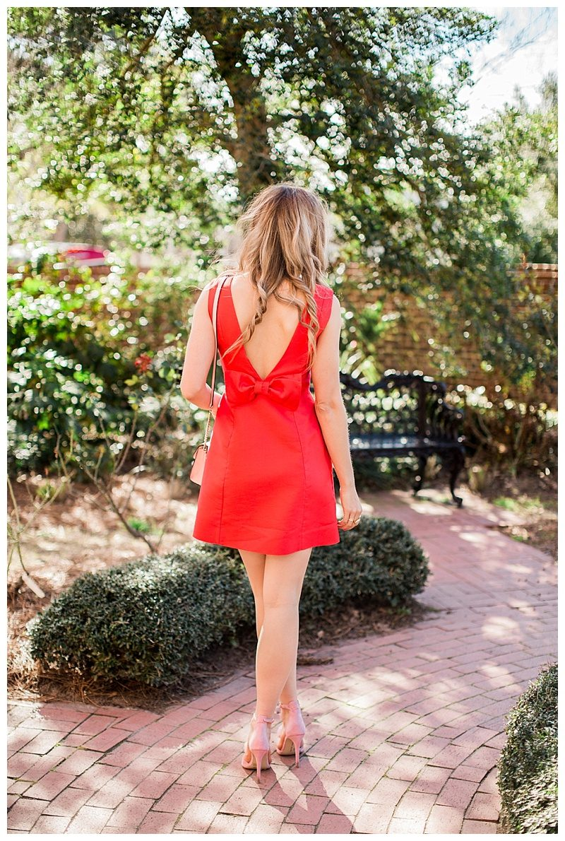 valentine's day, blush and camo, style tips, fashion blog, kate spade, kate spade new york dress