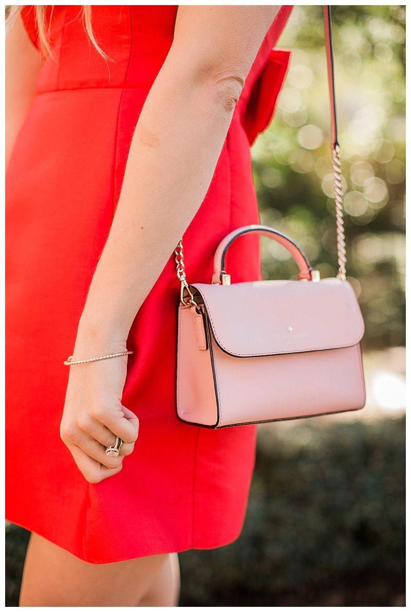 valentine's day, blush and camo, style tips, fashion blog, kate spade, kate spade new york dress