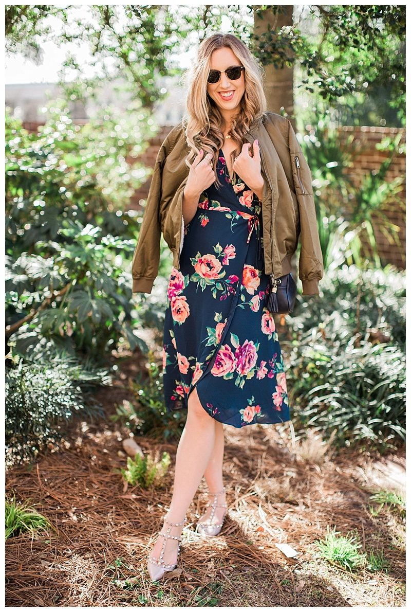 blush and camo, style tips, style blog, morning lavender, morning lavender dress, floral print, valentino rockstud flats, bomber jacket