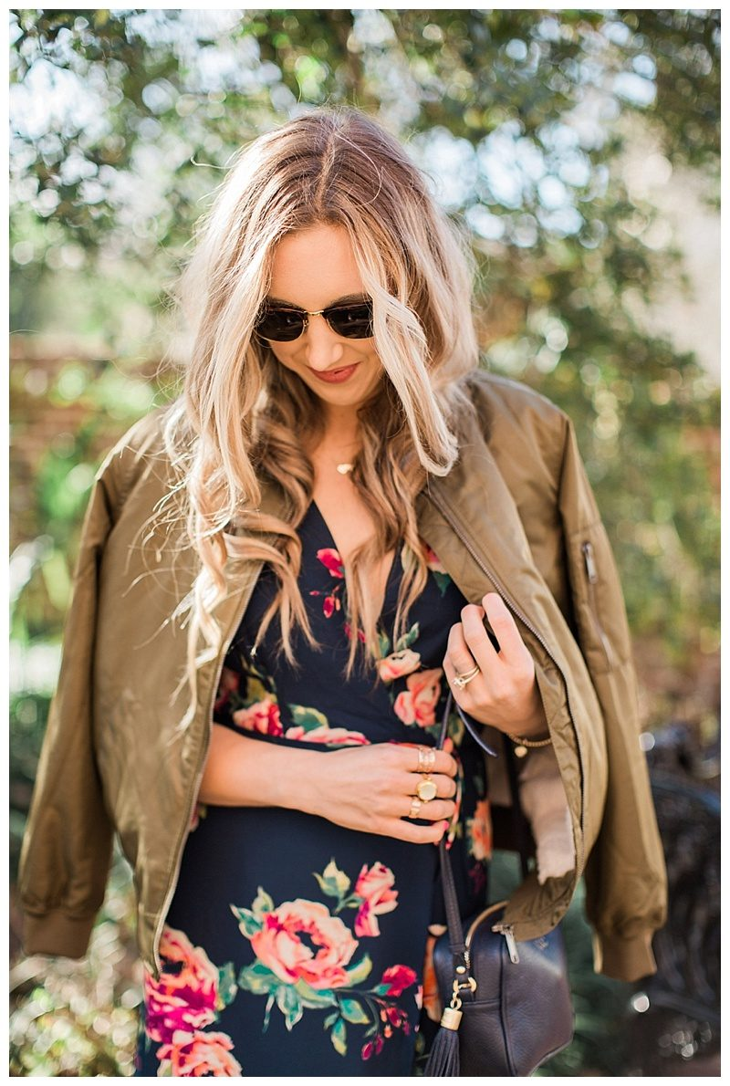 blush and camo, style tips, style blog, morning lavender, morning lavender dress, floral print, valentino rockstud flats, bomber jacket