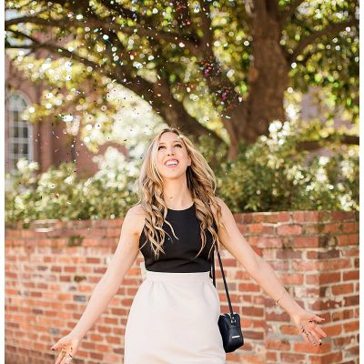 blush and camo, kate spade dress, bow, spring style, south carolina style, block heels, velvet heels