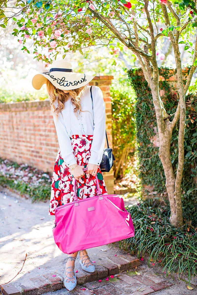 blush and camo, lipault paris, draper james, draper james skirt, floppy hat, spring style, wanderlust