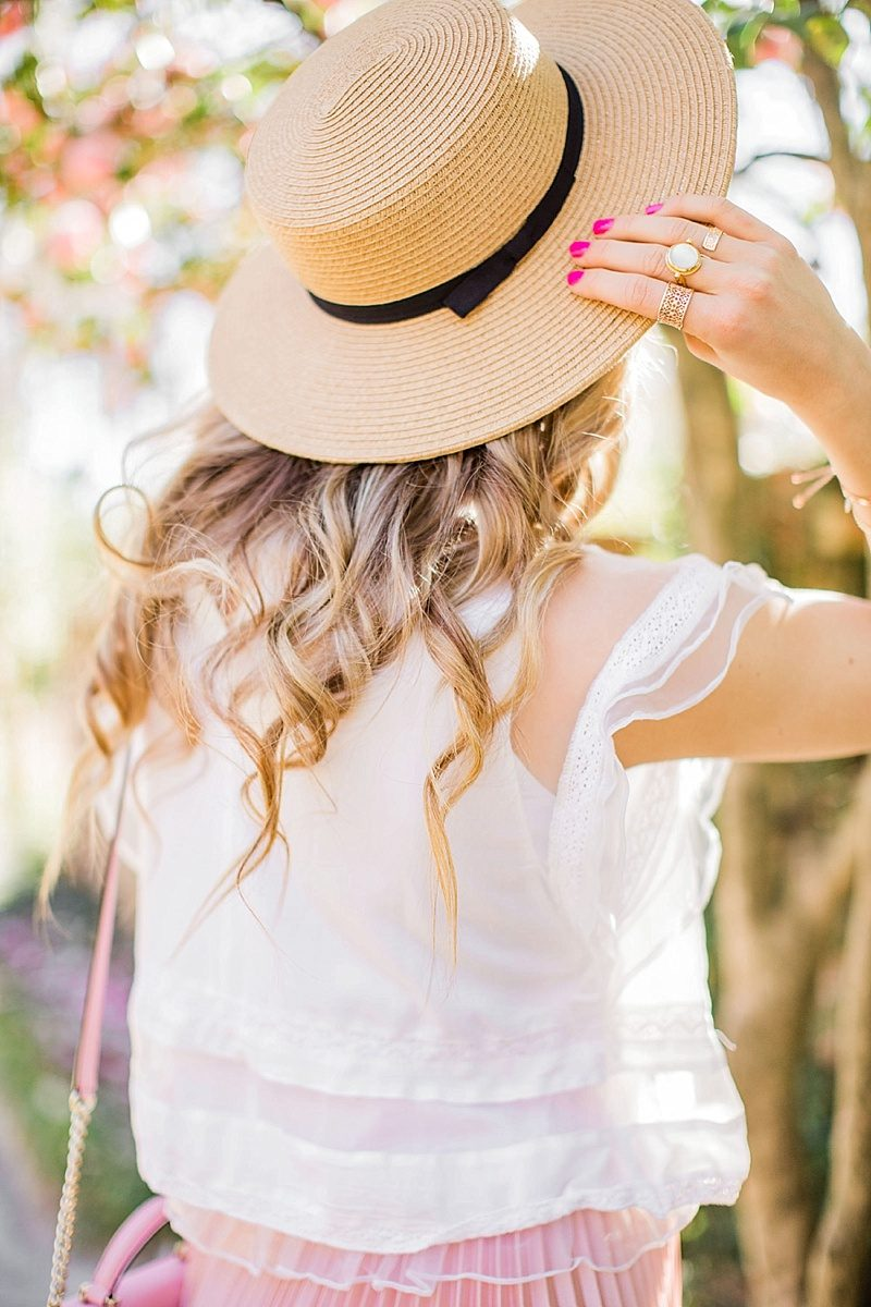 blush and camo, style tips, blog tips, photography tips, pink skirt, boater hat, spring style, fashion blogger style