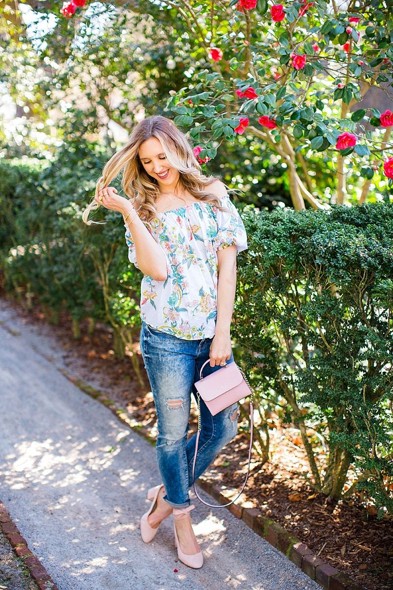 blush and camo, spring style, plum pretty sugar, ripped denim, shop maude, blonde hair, beach waves, dsw pink shoes, kate spade handbag