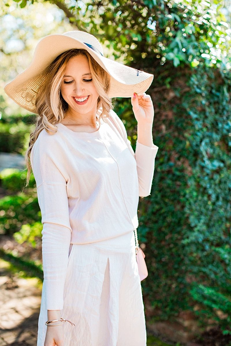 blush and camo, style tips, spring outfit, pink sweater, monochromatic outfit, floppy hat, pink heels, fashion blogger style, blogger style, chic style