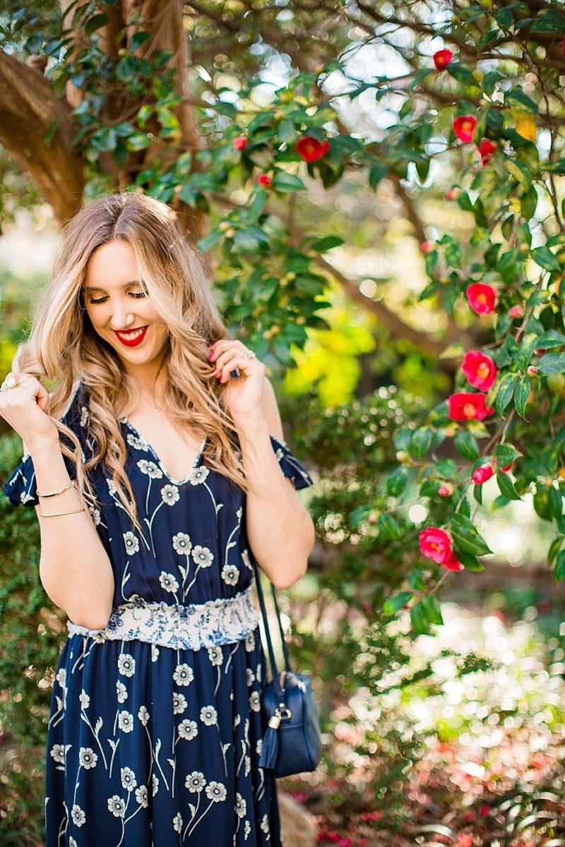 blush and camo, derek lam dress, floral print, spring style, fashion blogger style, floral dress, red lip, gigi new york handbag