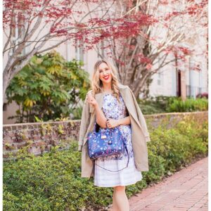 blush and camo, style tips, trench coat, wardrobe staple, pink heels, draper james, blue handbag