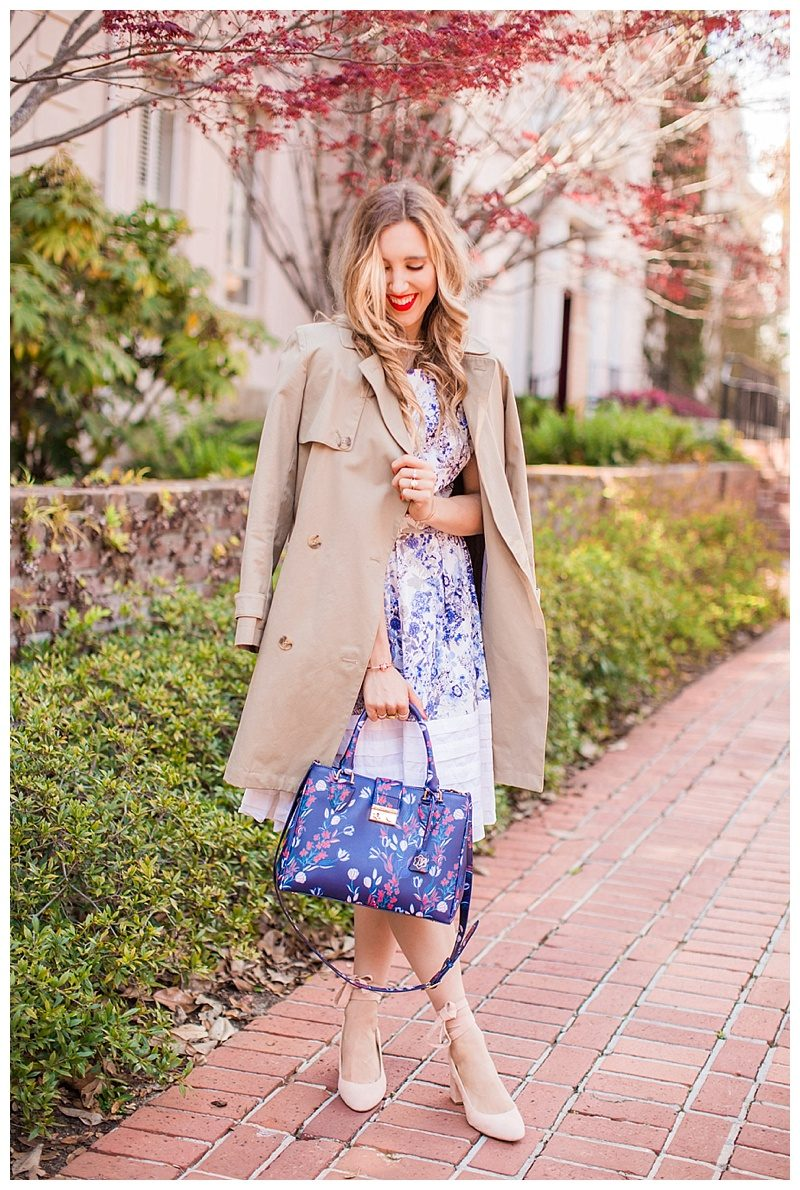 blush and camo, style tips, trench coat, wardrobe staple, pink heels, draper james, blue handbag