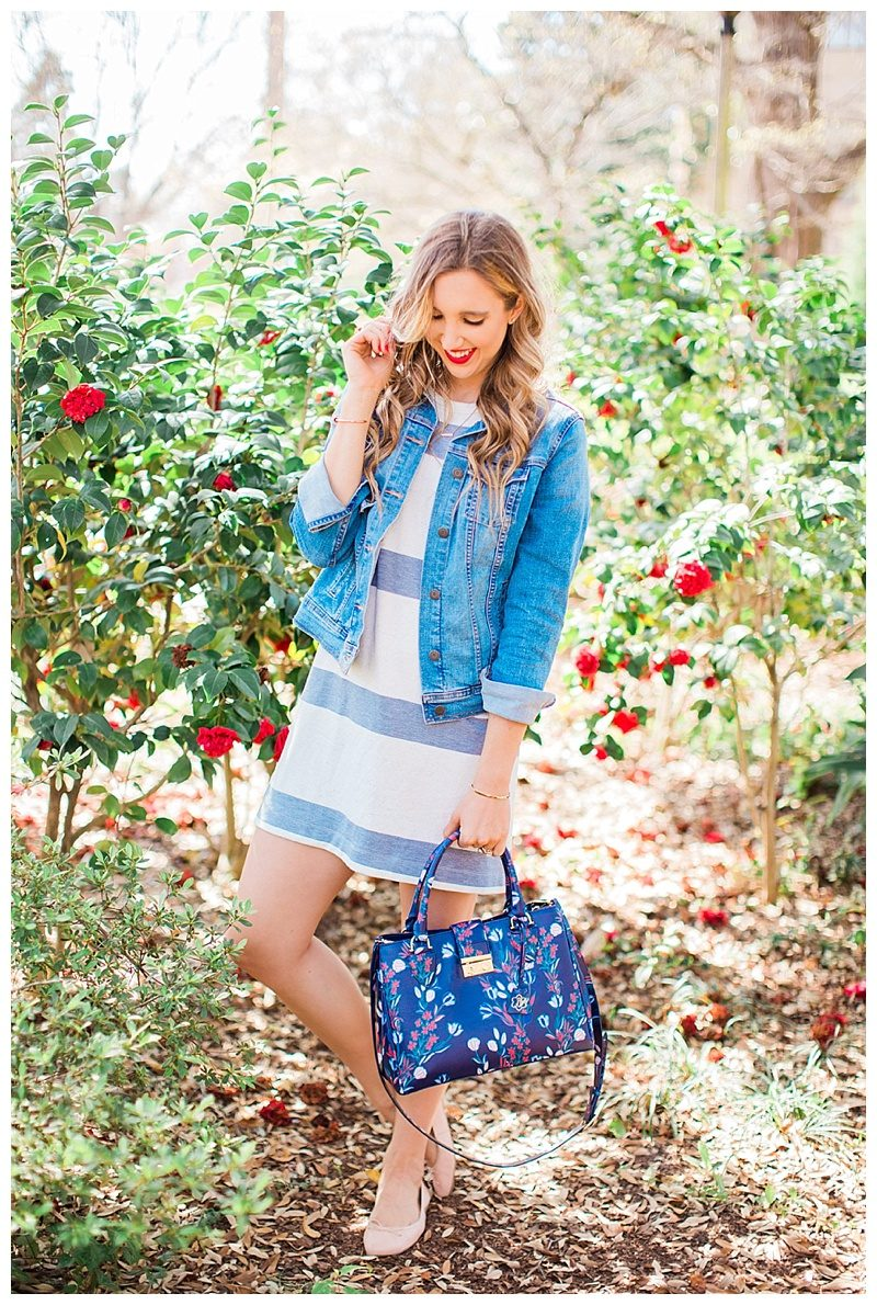 blush and camo, glowing skin, skin tips, beauty tips, loft dress, jean jacket, draper james handbag