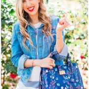 blush and camo, glowing skin, skin tips, beauty tips, loft dress, jean jacket, draper james handbag