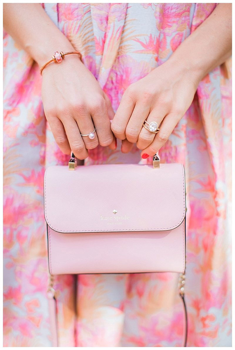 blush and camo, style blog, blush dress, pom heels, kate spade handbag