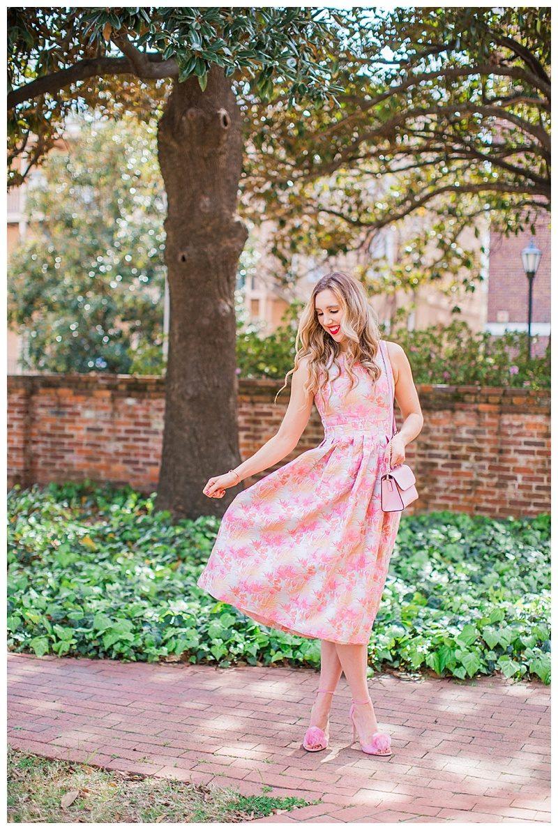 blush and camo, style blog, blush dress, pom heels, kate spade handbag