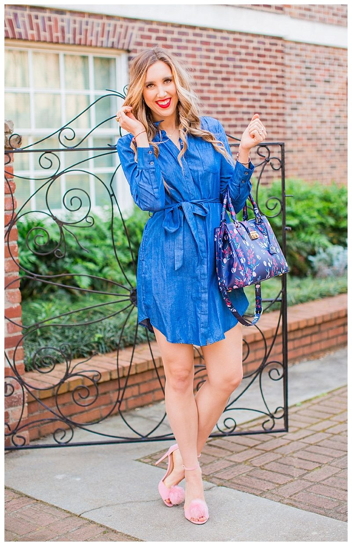 blush and camo, draper james, chambray dress, pink heels, spring style, fashion blogger style, denim dress, shirt dress. red lip